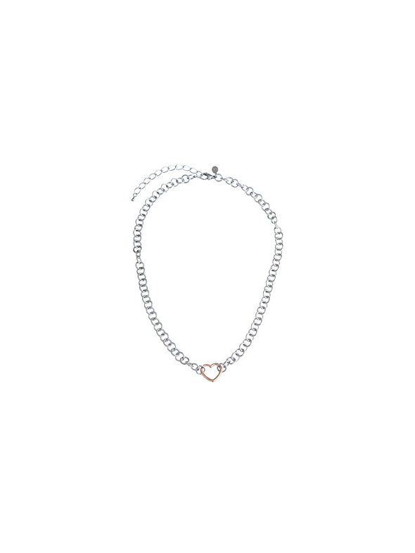 """Rose Gold Heart with Silver chain 18"""""""